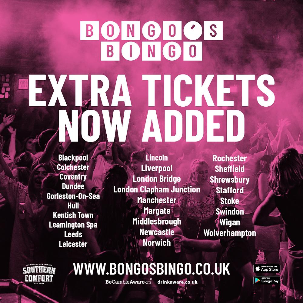 The locations for upcoming Bongo's Bingo events across the UK (Credit: Image Supplied by Bongo's Bingo).