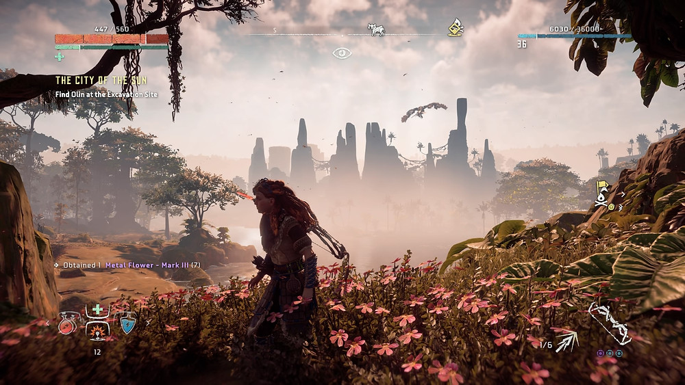 Aloy in the luscious open world that is Horizon: Zero Dawn (Credit: Sony Interactive Entertainment).