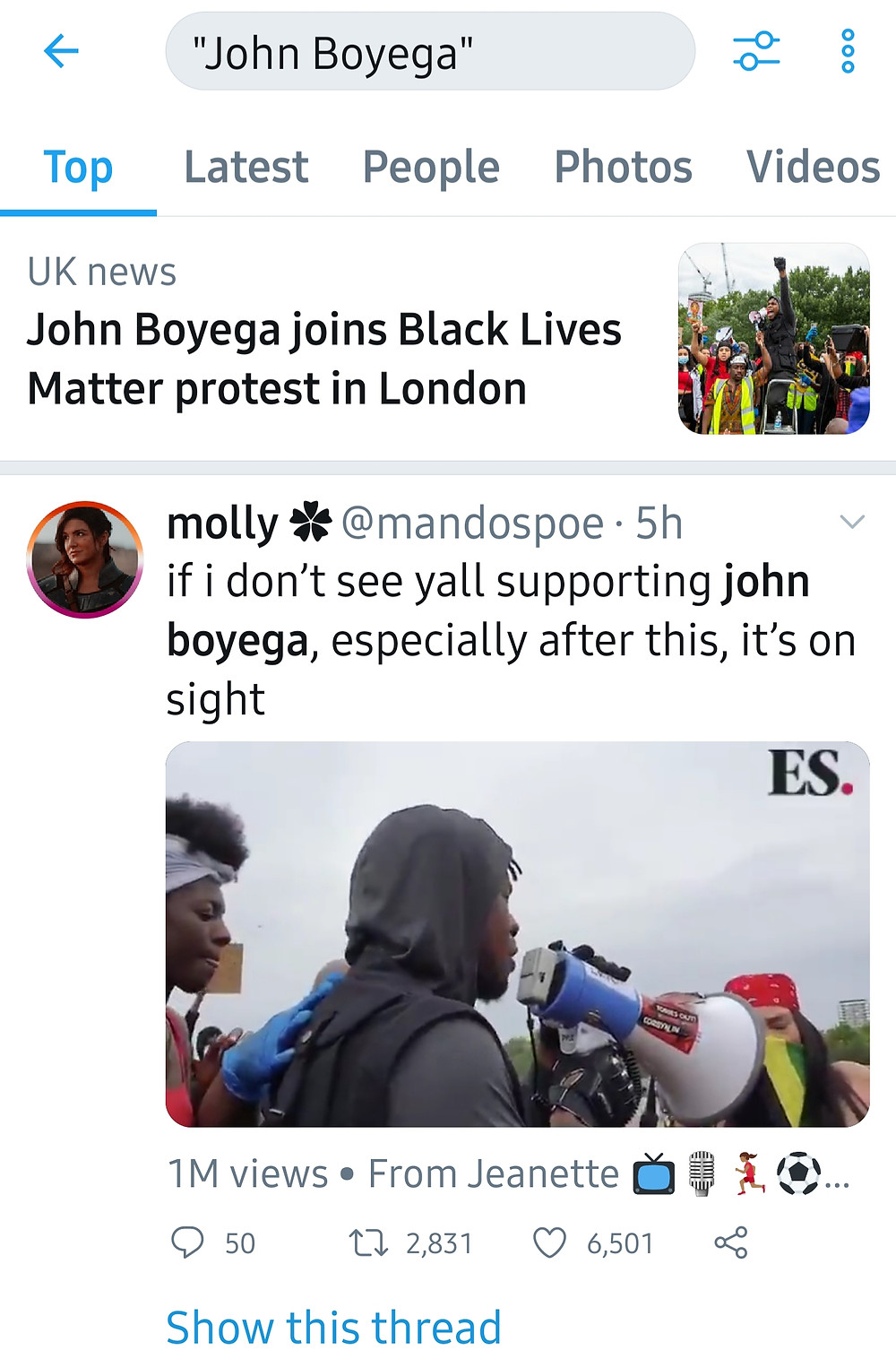 John Boyega has made his mark after his momentous speech (Credit: Twitter).