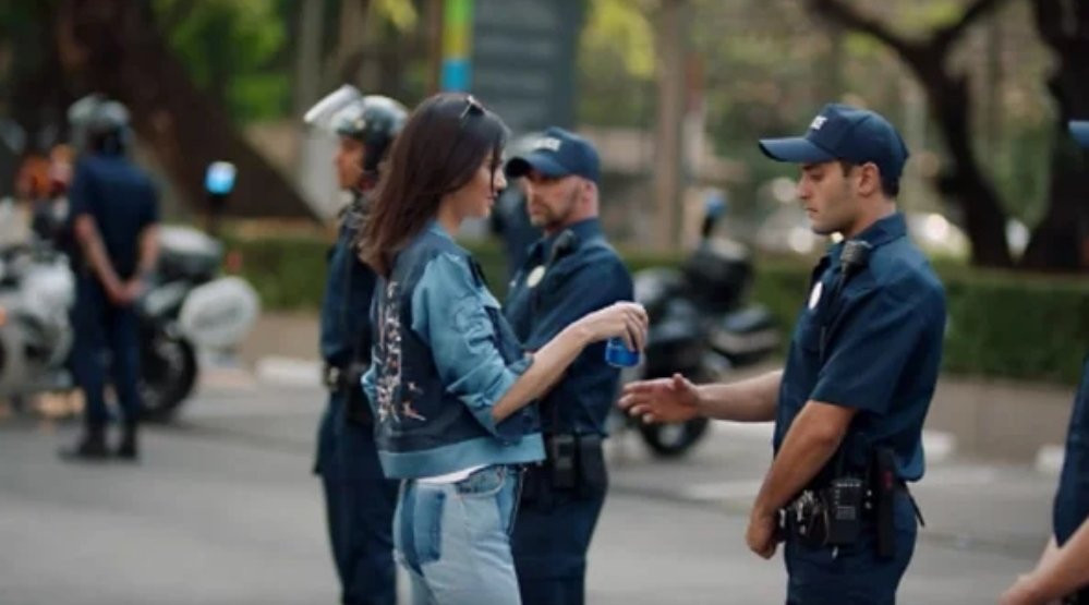 The overtly offensive Pepsi advert with Kylie Jenner that emphasises, especially now, how the establishment and corporations are completely out of touch (Credit: Pepsi).