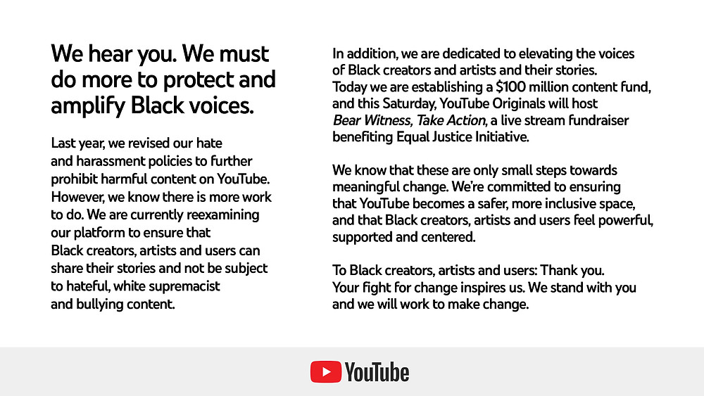 YouTube's Company Statement in support of the Black Lives Matter movement, discussing the steps that they will take in order to 'amplify Black voices' (Credit: Twitter).