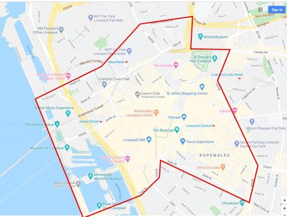 Merseyside Police mapping out the City Centre location that has been issued a Dispersal Order (Credit: Google/ Merseyside Police).