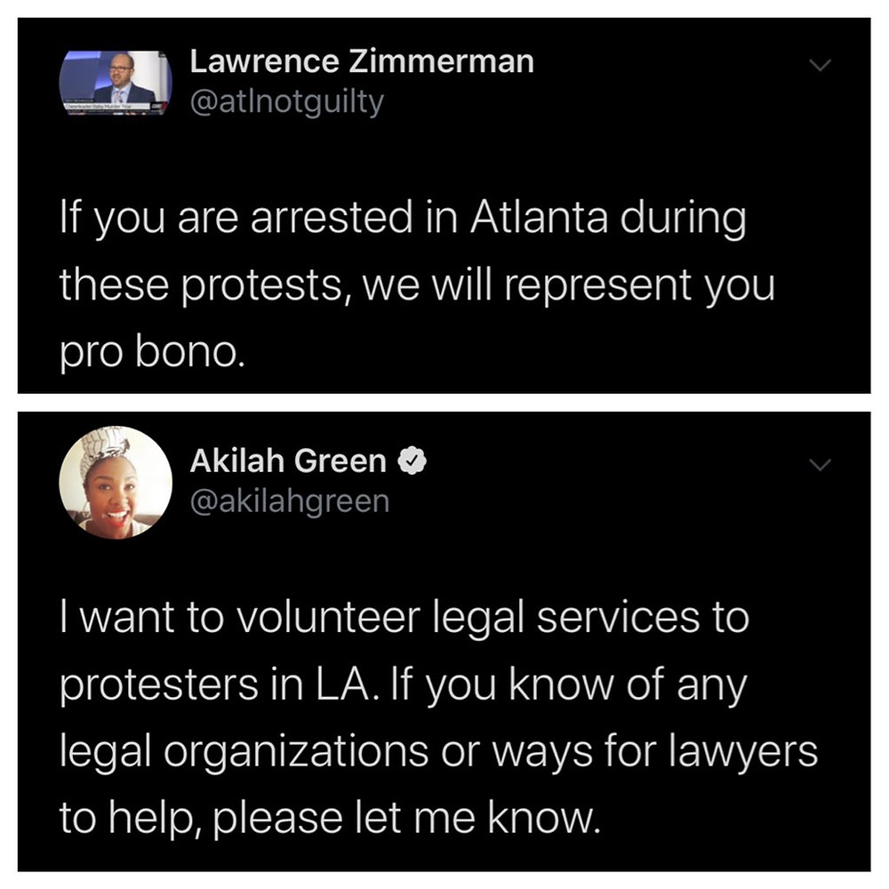 Lawyers across the US offering their support and services to those arrested in the George Floyd protests (Credit: Twitter).