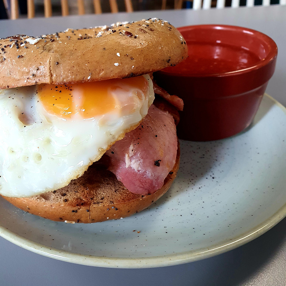 The fantastically tasty 'Brekkie Bagel' available on the Noon Menu at Tempest on Tithebarn (Credit: The Liverpudlian/Peter Eric Lang).