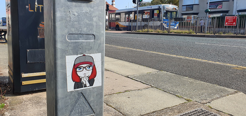 'Shhh' sticker outside of Home Bargains in Prenton (Credit: The Liverpudlian/Peter Eric Lang).