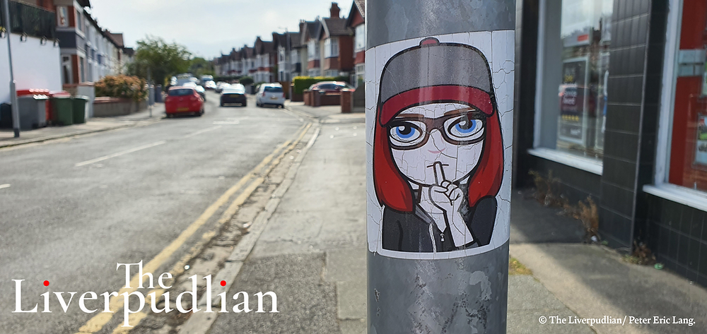 The mysterious 'Shhh' sticker on a lamp post on Woodchurch Road in Prenton (Credit: The Liverpudlian/ Peter Eric Lang).
