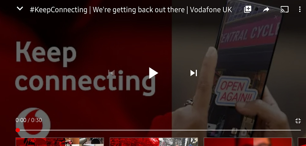 Vodafone Keeping the UK connecting to each other during the COVID-19 pandemic and self-isolation rules, advertising their services with 'Come Together' by The Beatles (Credit: Vodafone/ YouTube).