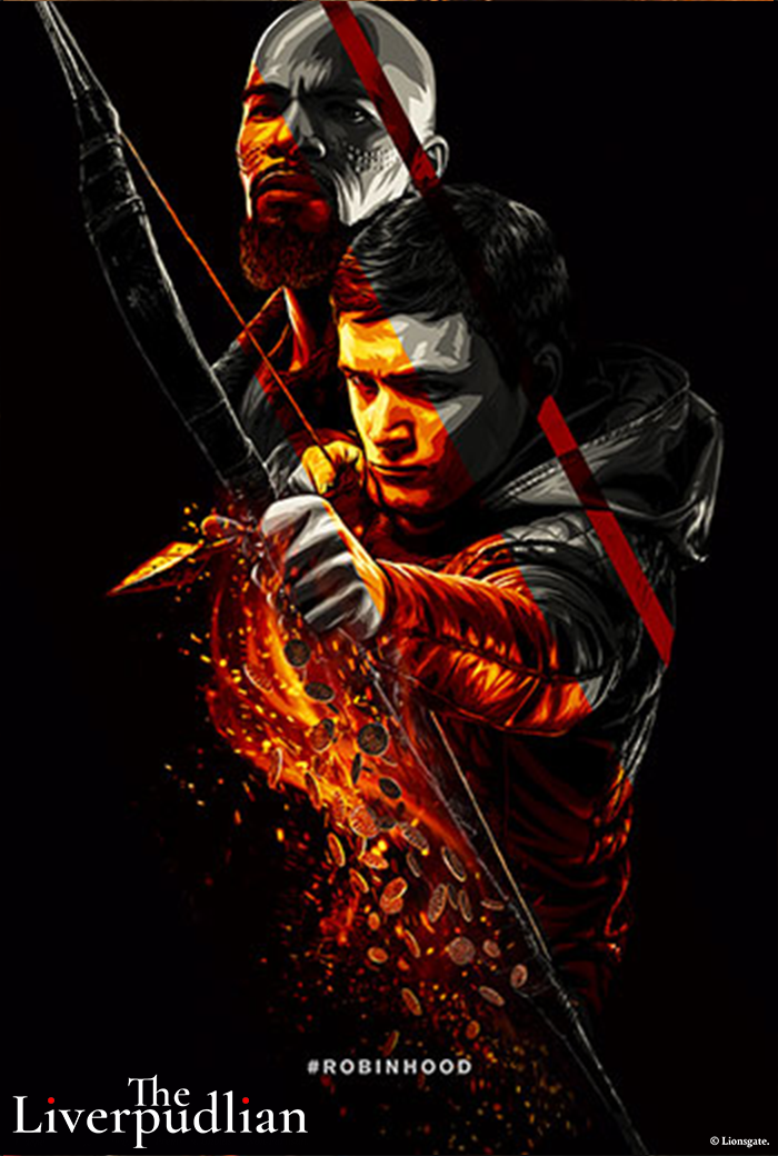 An illustrated poster of Taron Egerton and Jamie Foxx as Robin Hood and Little John respectively (Credit: Lionsgate).