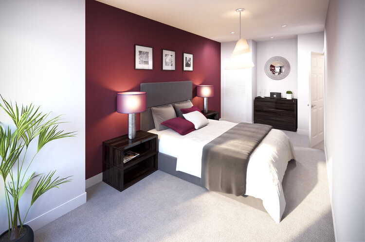 Projection of how an apartment's bedroom will look inside Silkhouse Course upon completion of its redevelopment by Fortis Developments (Credit: The Liverpudlian/Peter Eric Lang).