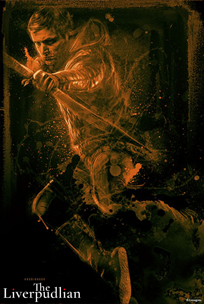 An illustrated poster of Taron Egerton as Robin Hood (Credit: Lionsgate).
