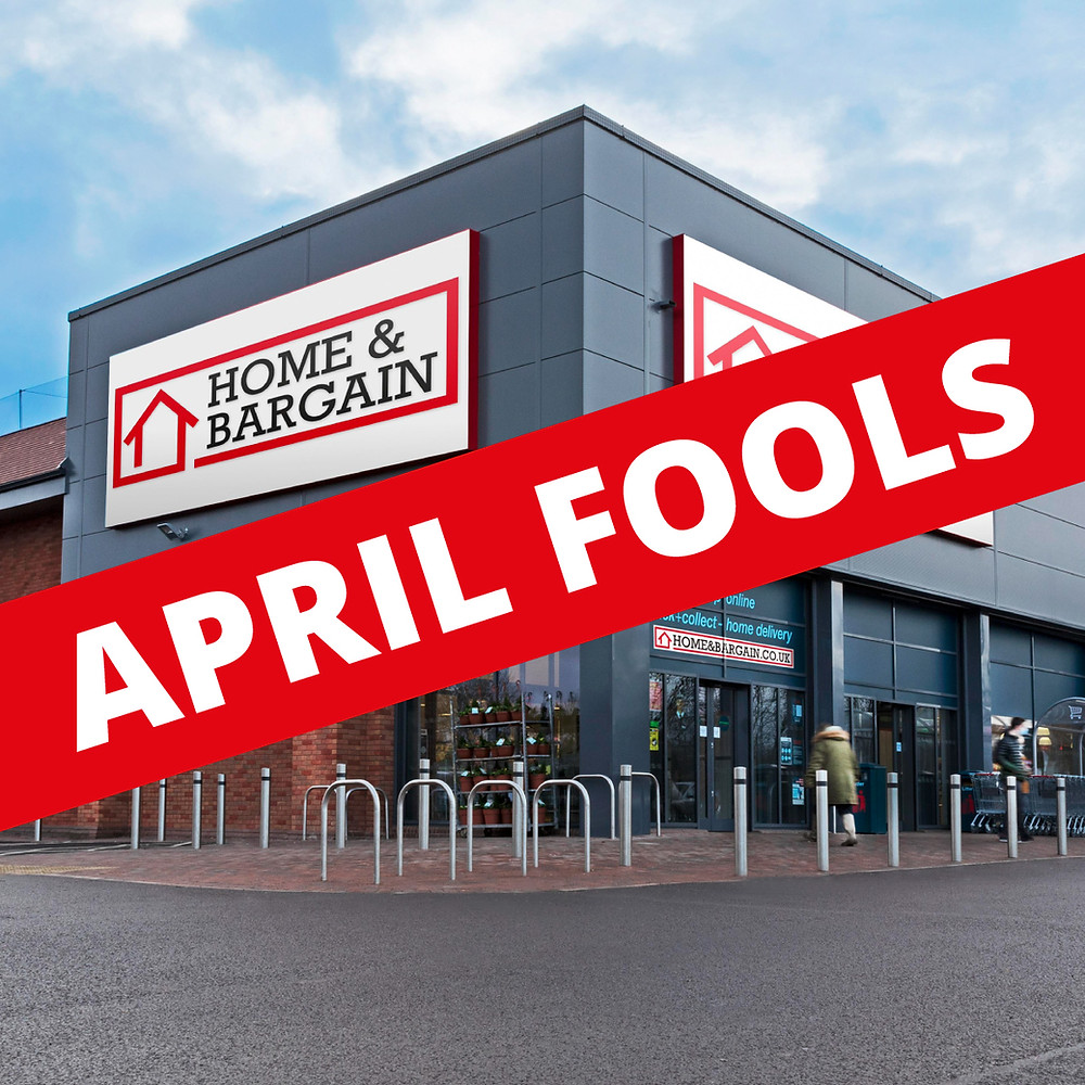 The April Fool joke of the return of the original 'Home & Bargain' storefront as Tweeted by Home Bargains online (Credit: TJ Morris/Home Bargains).
