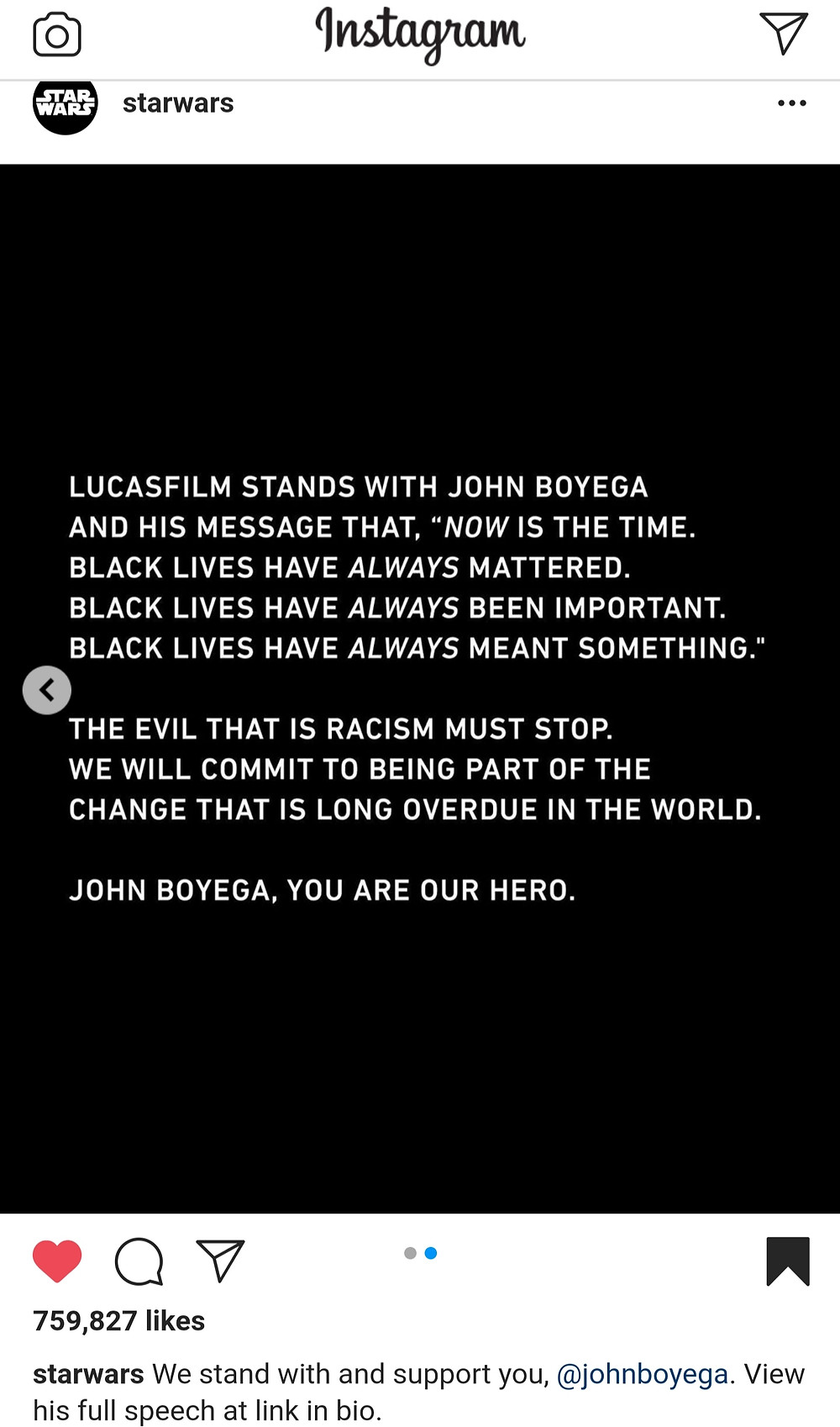 A message of support and a promise to do better for the black community, backing John Boyega's monumental speech from the official Star Wars Instagram Account (Credit: Instagram).