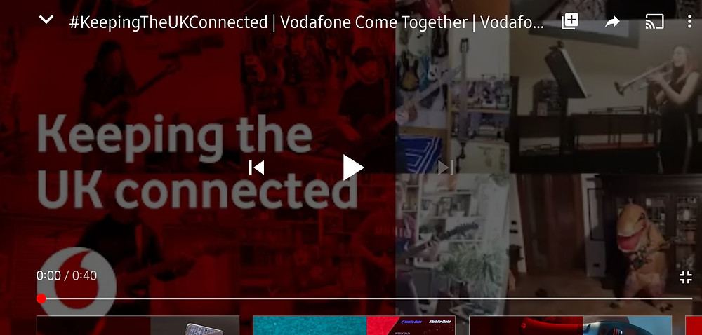 Vodafone Keeping the UK connected during the COVID-19 pandemic, advertising with 'Come Together' by The Beatles (Credit: Vodafone/ YouTube).