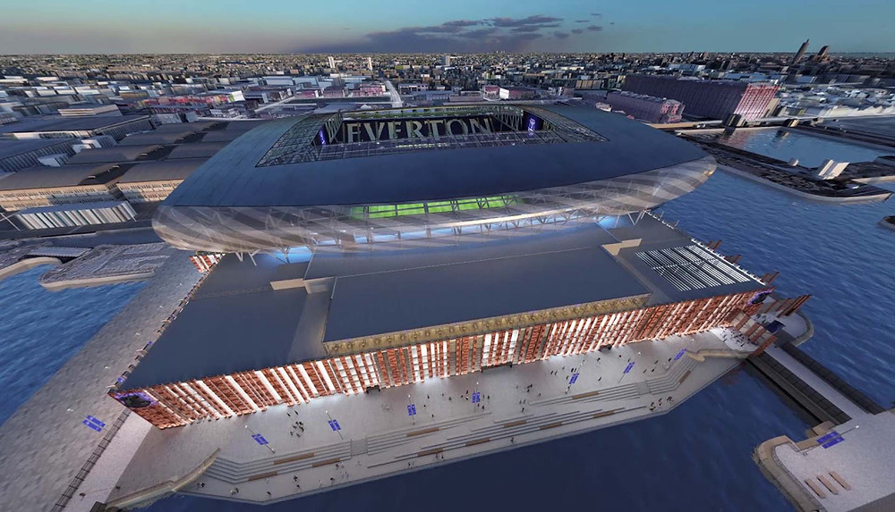 Everton FC's vision for the intended final look of the Bramley-Moore Dock Stadium that will house the Premier League Club after they move from Goodison Park in the Everton Area of the City (Credit: Everton FC).