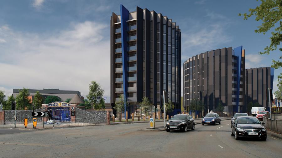 A projection of 10-storey high rise tower blocks where Goodison Park Stadium currently stands (Credit: Everton FC).