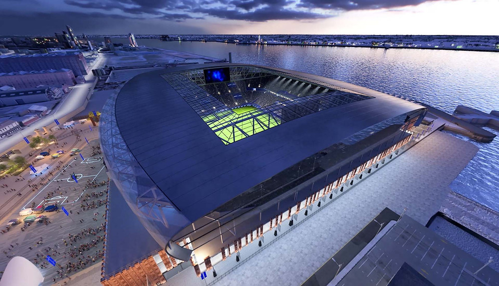 A projection of how Everton FC's new stadium is likely to look at Bramley-Moore Dock at the Waterfront (Credit: Everton FC).