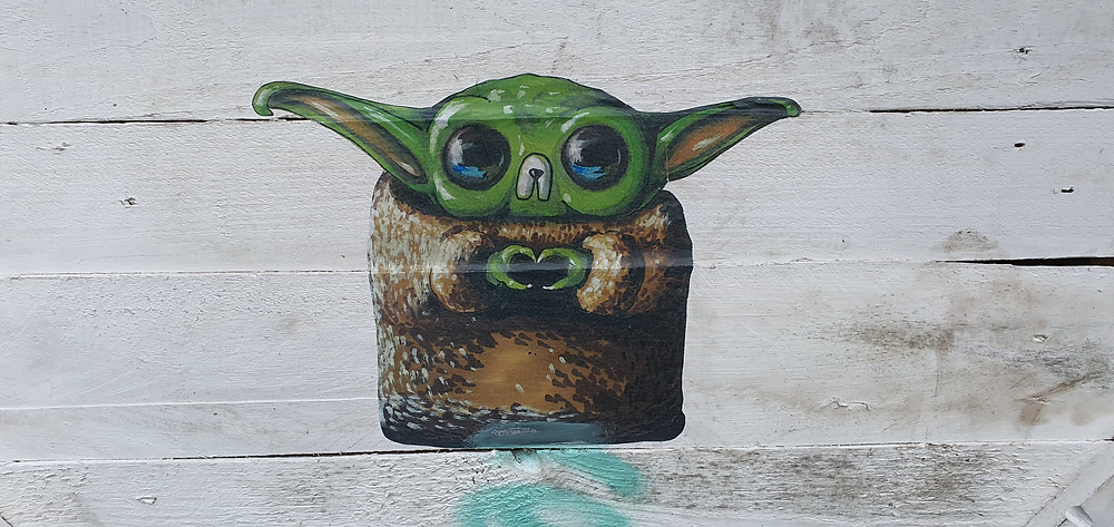Baby Yoda inspired artwork by 'Lost Hills' in Liverpool City Centre (Credit: The Liverpudlian/Peter Eric Lang).
