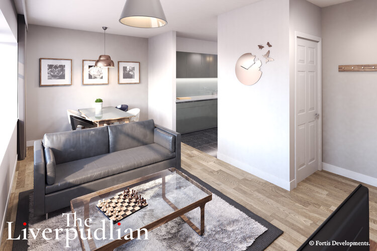 Projection of how an apartment's main living space will look inside Silkhouse Course upon completion of its redevelopment by Fortis Developments (Credit: The Liverpudlian/Peter Eric Lang).