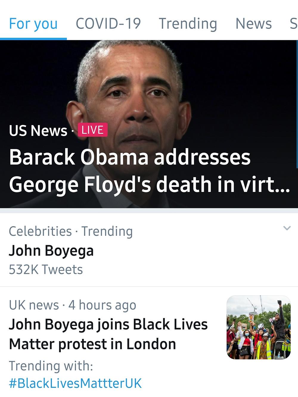 John Boyega Was Trending Alongside Former President Barack Obama on Twitter (Credit: Twitter).