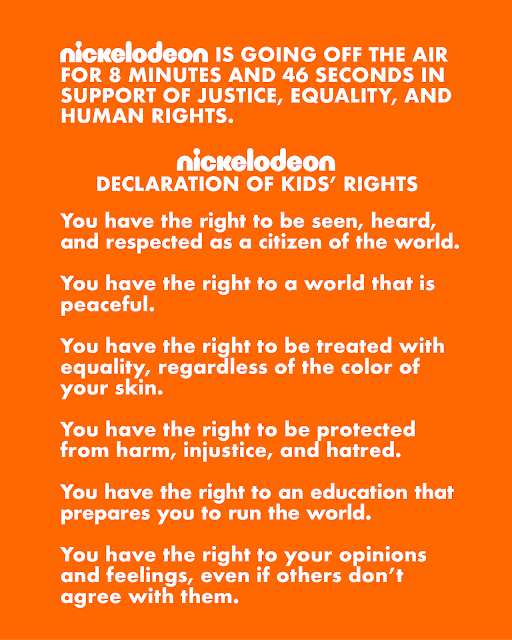 The start of the message that Nickelodeon aired in the middle of a show in support of Black Lives Matter (Credit: Nickelodeon).