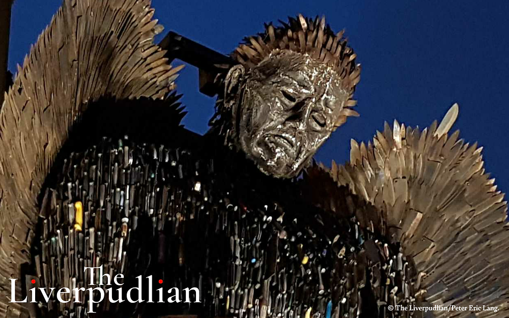 The Knife Angel outside of the Liverpool Anglican Cathedral in the City Centre (Credit: The Liverpudlian/Peter Eric Lang).
