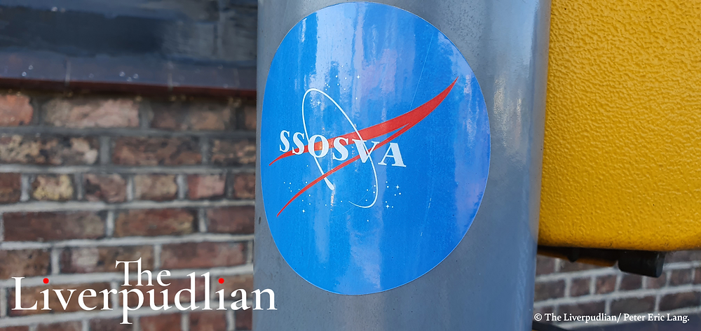NASA inspired SSOSVA stickers outside of the Halfway House (Credit: The Liverpudlian/Peter Eric Lang).