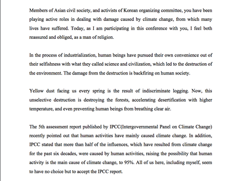 Congratulatory message for the Asian Civil-society Conference on Climate change