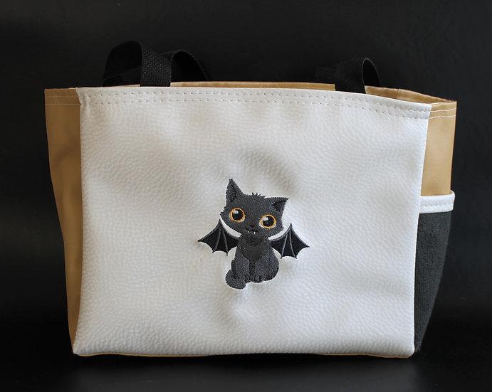 Halloween Black Vampire Kitten Tote