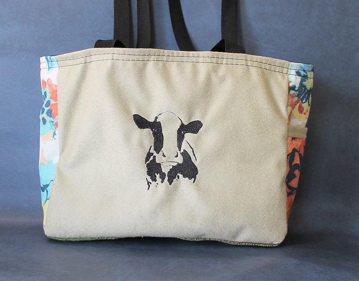 Floral Cow Tote
