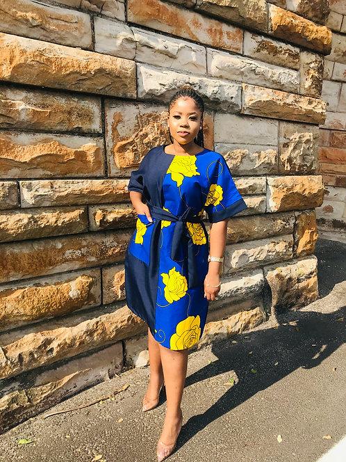 blue assymetric shirt dress