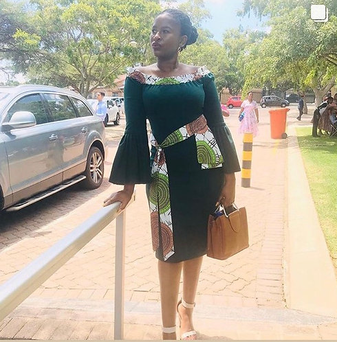 off shoulder pleated sleeves dress