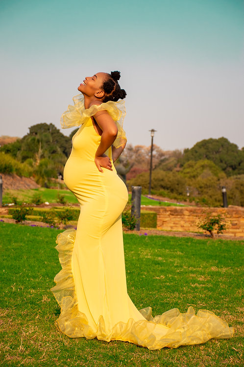 yellow frilled dress