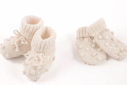 COTTON BOBBLE MITTS/BOOTIES SET