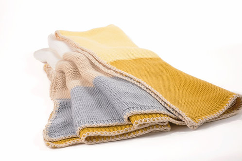 COLOR BLOCK ORGANIC COTTON BLANKET