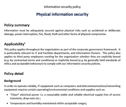 Physical infosec policy