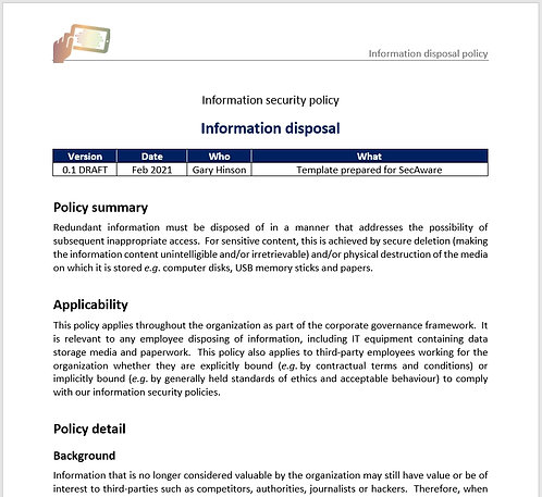 Information disposal policy