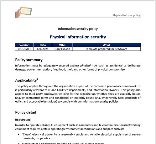 Physical information security policy