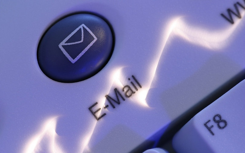 Email keyboard button close up