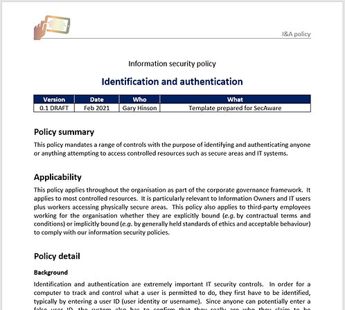 Identification and authentication policy