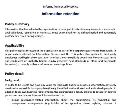 Information retention policy