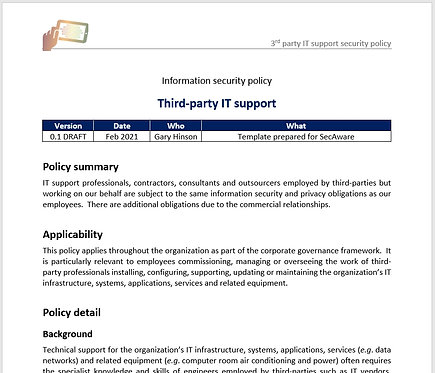 Third party IT support security policy