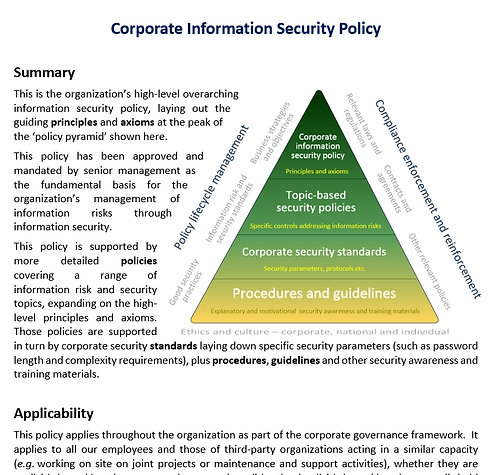 Corporate information security policy