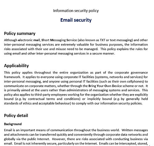 Email security policy