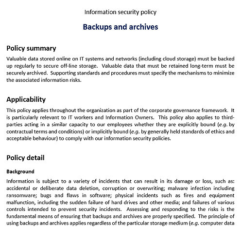Backups and archives policy
