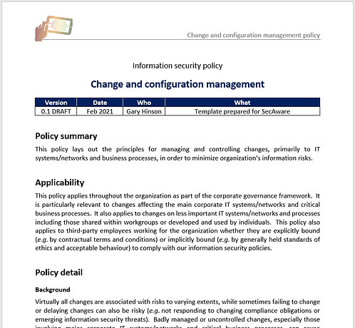 Change and configuration management policy