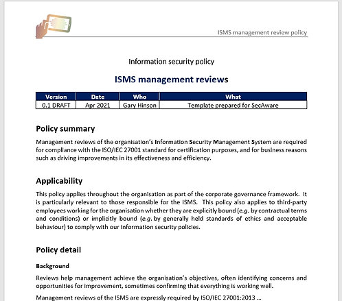 ISMS management reviews policy