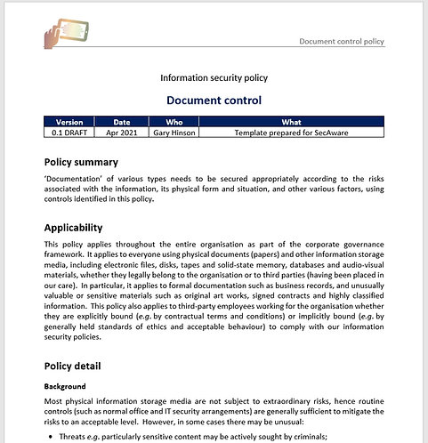 Document control policy