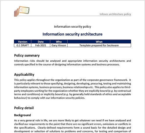 Information security architecture policy