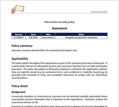 Assurance policy