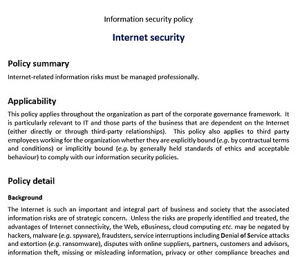 Internet security policy